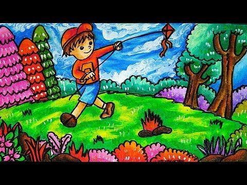 Cara Menggambar Dan Mewarnai Tema Anak Bermain Layangan Di Lapangan Youtube Mỹ Thuật Y Tưởng Mi