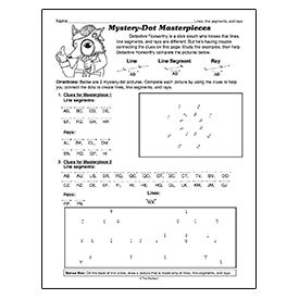 Worksheets Worksheets On Lines Segments And Rays line segment ray mystery picture math pinterest picture