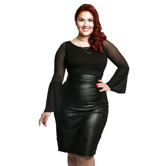 e205532f09e1b NEW NWT Sleevey Wonders Plus Size Black Mesh Shapewear Long Bell Sleeves 1X   44.99