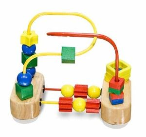 Featuring brightly colored, multi-shaped beads that spin and slide along red and yellow wire pathways that are anchored by a strong suction cup base.  Encourages color recognition, hand-eye coordination and fine motor development through play!