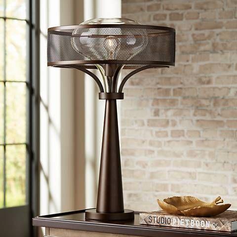 Possini Euro Design Luis Oil Rubbed Bronze Metal Table Lamp 37p06 Lamps Plus Metal Table Lamps Industrial Table Lamp Modern Brass Table Lamps