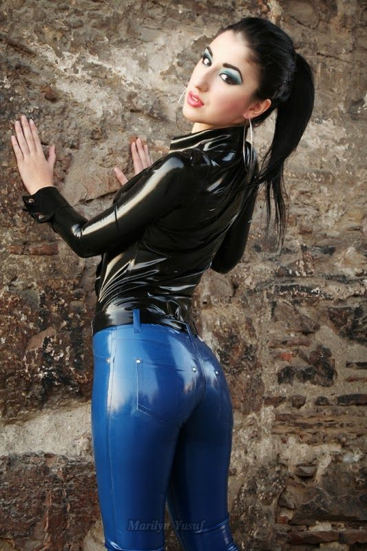 Marilyn Yusuf's Passion for Latex: Marilyn Wearing Latex Jeans in Greece