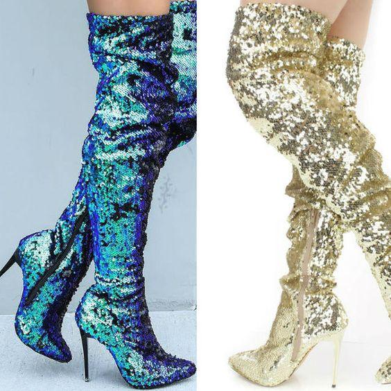 Hologram Thigh High High Heel Boots | Stunning Women's Shoes ...
