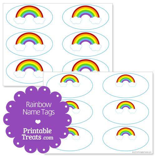 Free Printable Rainbow Name Tags from PrintableTreats.com