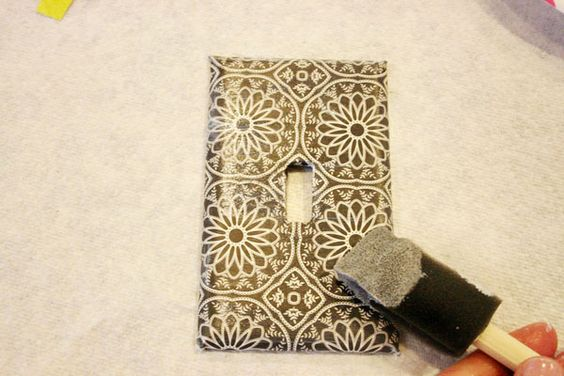 decoupage light switch plates {tutorial}   Jones Design Company   stylish custom designs for life
