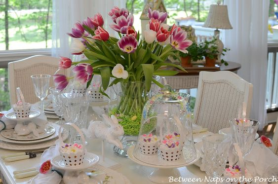 Pretty white Easter tablescape with pops of color.