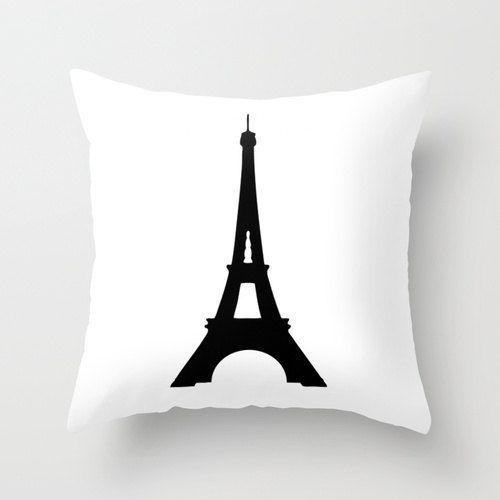 Eiffel Tower Pillow, Paris Bedroom Decor, Velvet Pillow Cover, Paris Pillow, Black and White ...