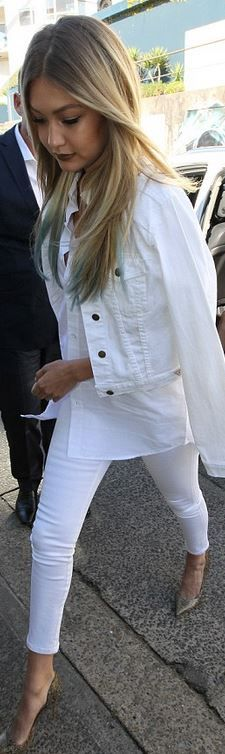 Who made Gigi Hadid's white denim jacket, skinny jeans, and print ...