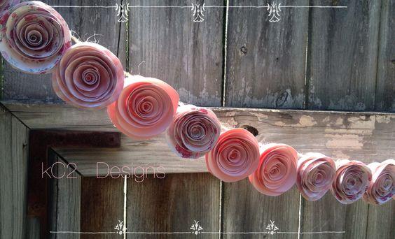 Paper Flower Garlan. Pink garland. Blush garland. Wedding Garland paper flowers. Blush wedding. Baby shower. Nursery decoc. Pink flowers.