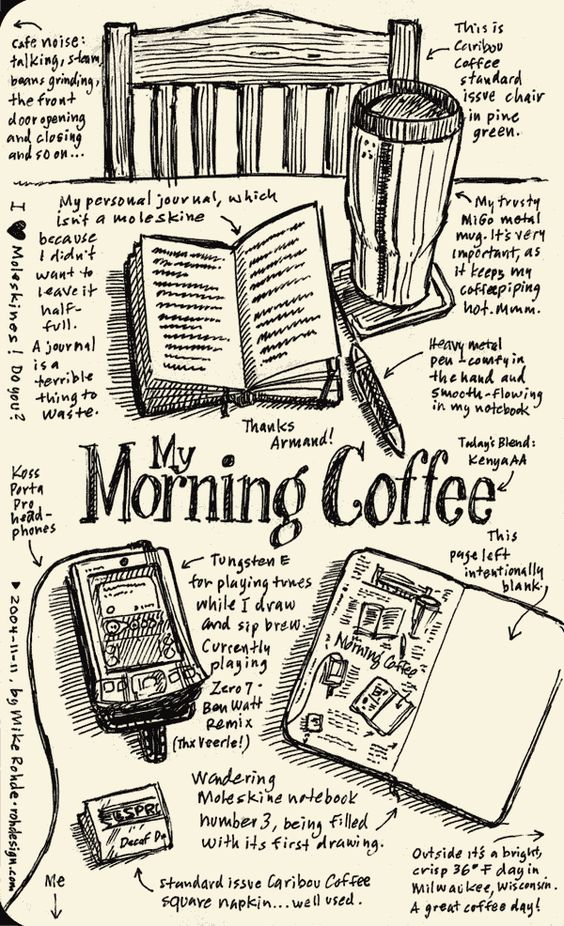 Moleskine Sketches And Morning Coffee On Pinterest