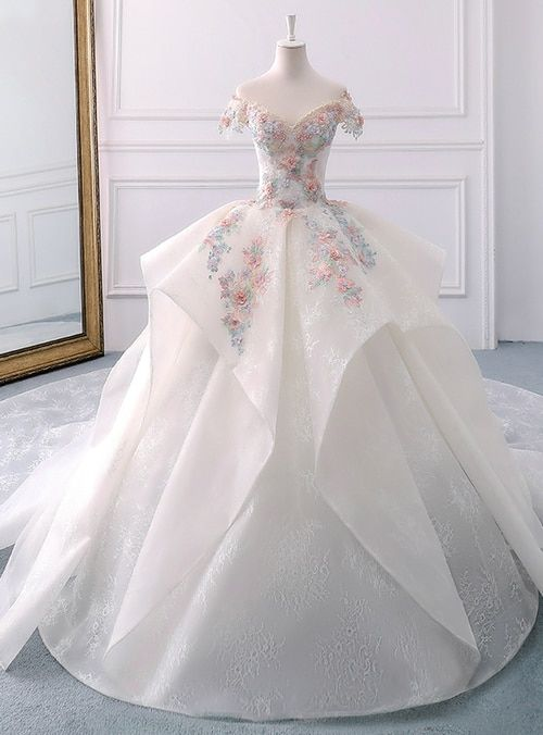 White Ball Gown Lace Off The Shoulder Flower Wedding Dress White Ball Gowns Ball Dresses Gowns