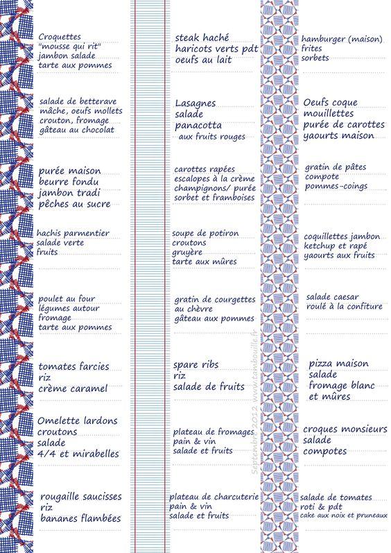 Grilles de menus (idées de repas)   Tambouille