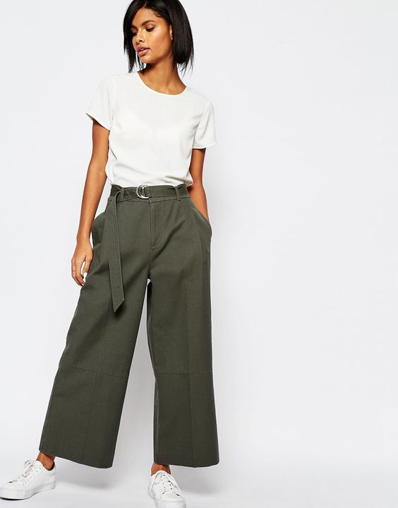 Whistles Cropped Wide Leg Trouser