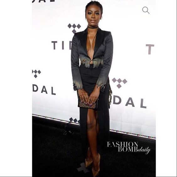 @justineskye was also on scene of #Tidalx1015 wearing a black @moschino cropped blazer partnered with a black center split skirt also by the brand. Thoughts on this looks?  #JustineSkye #Moschino #Tidalx1015 #celebritystyle #instafashion #style #fashion #instastyle #fashionbombdaily