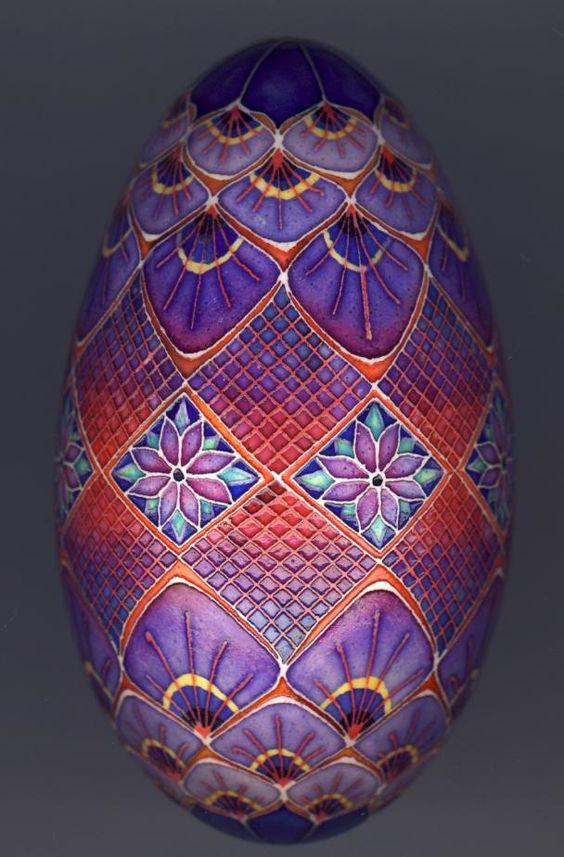 Decorative pysanky goose egg ~ by artist Mark Malachowski. S)