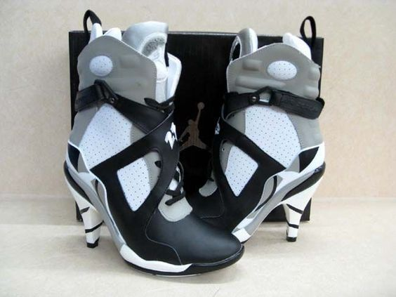 Air Jordan Heels in White &amp Black | jordan heels. | Pinterest