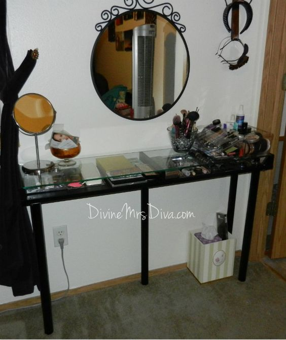 Crafting shelves and diy makeup vanity on pinterest for Glass makeup table