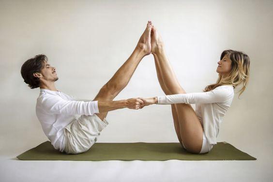 perfect partner yoga poses - buddy boat pose.