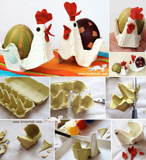 как сделать из ячеек из яиц курочку