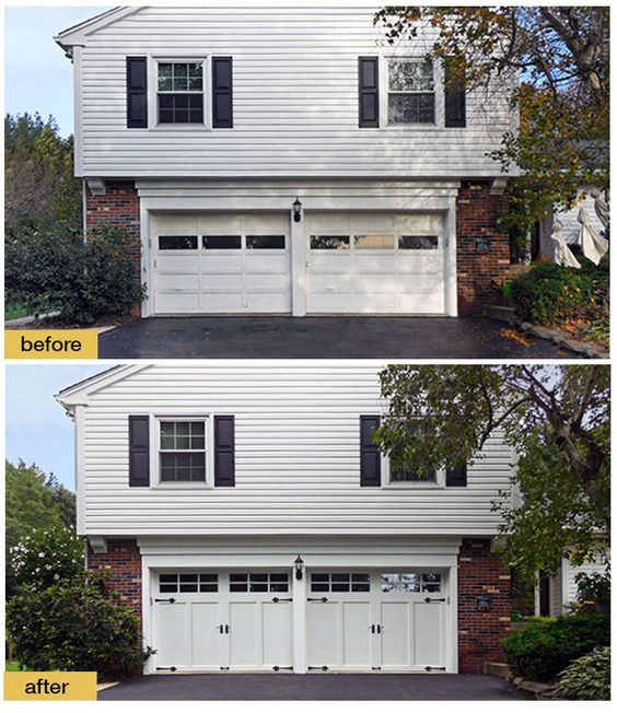 Goodbye Worn Out Wood Doors Hello Low Maintenance Curb Appeal New Carriage House Garage Doors Instantly Transformed Garage Door Design Garage Doors Door Plan