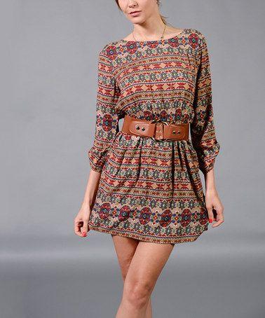 If it were longer, is buy it now!!!-- Mocha & Burgundy Tribal Stripe Roll-Tab Dress on zulily today!