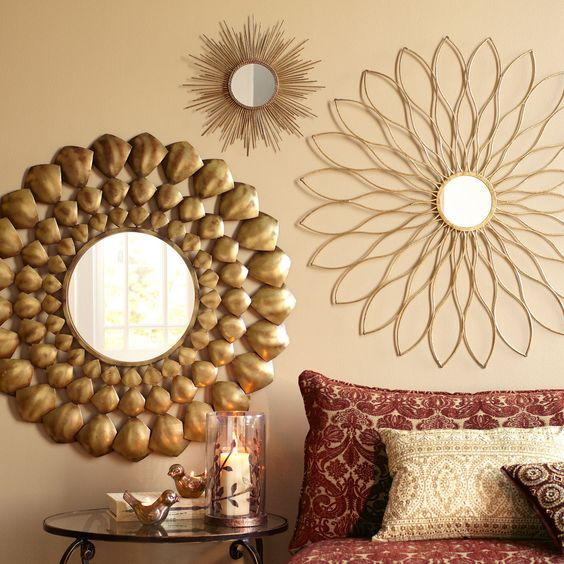 Pier One Mirrored Wall Decor : Petite gold burst round mirror the two flower