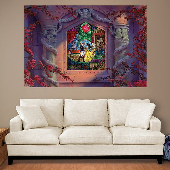 Beauty and the Beast Stained Glass Mural | Fathead – Peel & Stick Wall Graphic | Disney Decor: