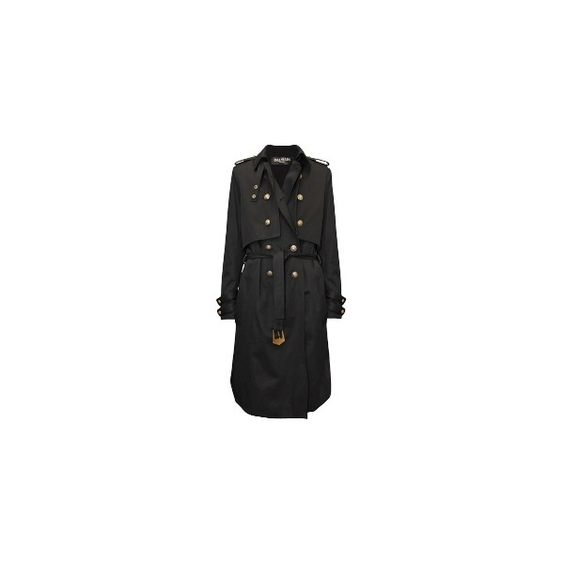BALMAIN Black Trenchcoat ($3,960) ❤ liked on Polyvore