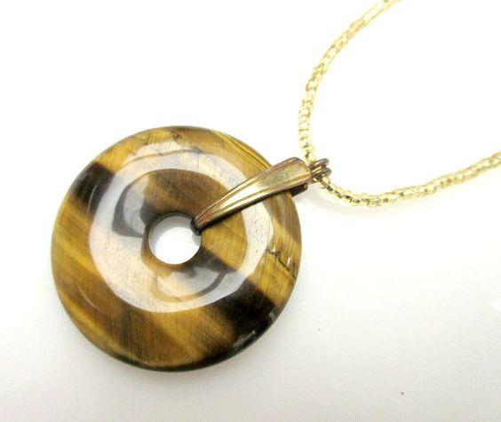 Tiger eye Pendant necklace round gemstone by serendipitytreasure