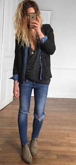 Cardigan, chambray, shirt and jeans