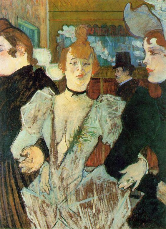 """""""La Goulue Arrivant au Moulin Rouge"""".  (1892). (by Henri de Toulouse-Lautrec)."""