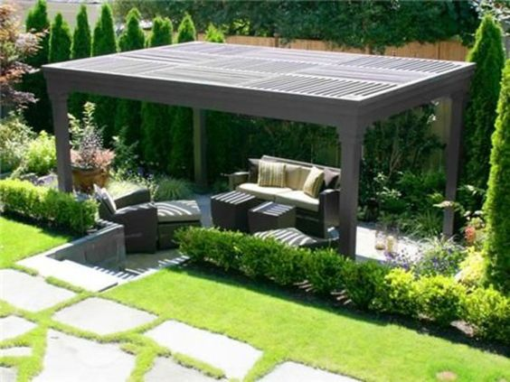 patio gartengestaltung ideen pergola selber bauen rechteckig rattanmöbel