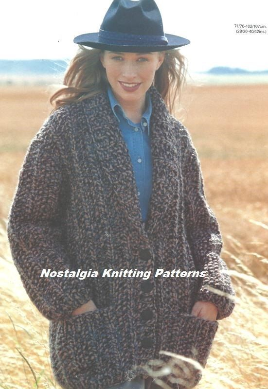 Knitting Patterns For Cardigans And Jackets : 1078F LADIES SUPER CHUNKY CARDIGAN / JACKET KNITTING PATTERN 28-42 /71-107cm ...
