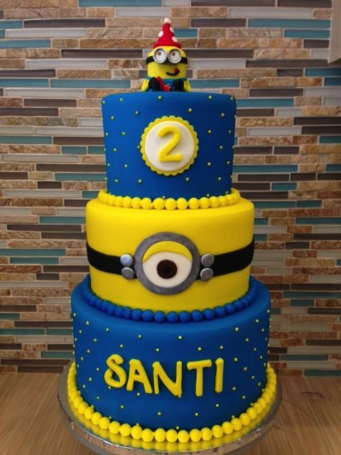 Minion Cake Design Pinterest : 3- tier Minion cake, TSB - Sugar Land, TX Cake ...