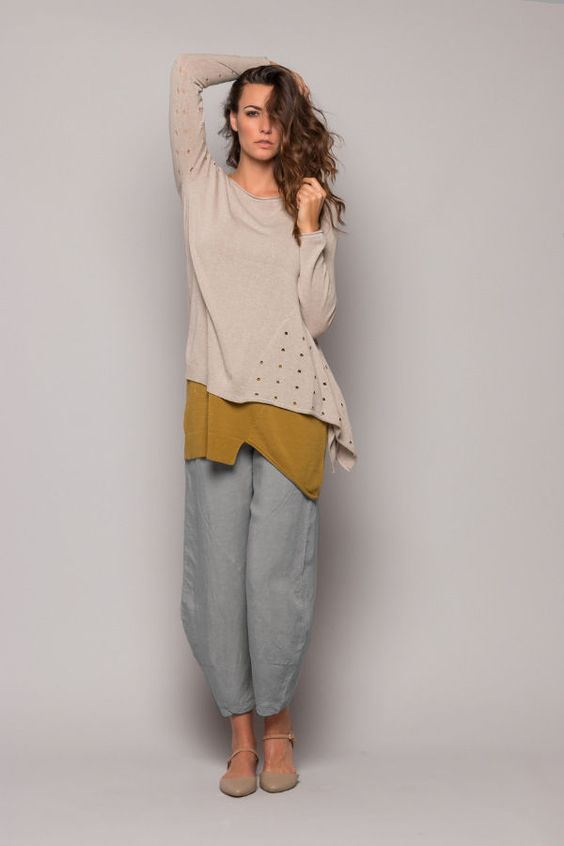 The length falls above the ankle. A stretchy elastic panel at the back of the waist and pockets make for a relaxed and stylish look. Light grey fabric is soft and drapey. Zip fly, hook-and-bar closure inside waist.   eBay!