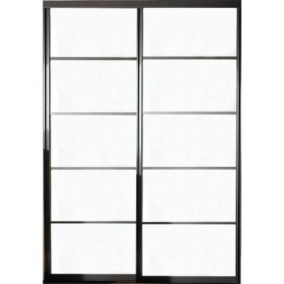 Contractors Wardrobe72 in. x 81 in. Silhouette 5 Lite Aluminum Bronze Finish Interior Bypass Sliding Door