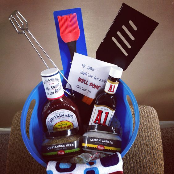 """End of year teacher appreciation gift for male teachers. Grilling kit. Thank them for a job """"well done"""". I added Velata artisan rubs for the best BBQ flavor."""