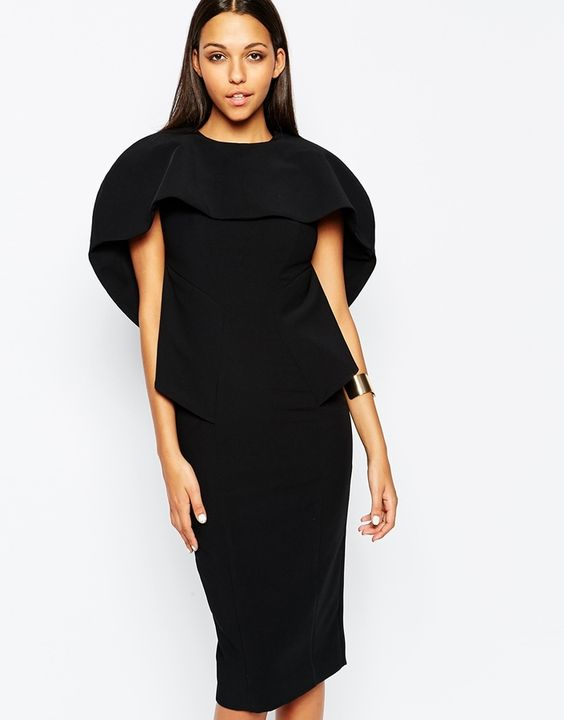 AQ/AQ AQ AQ Bonita Midi Dress With Cape Overlay