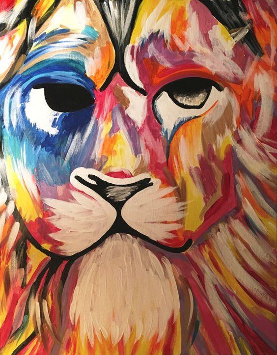 León pintura arte abstracto imprime 8 X 10 por melissabujanowskiart