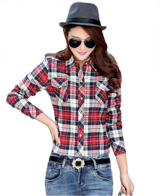 AvaCostume Winter Casual Thicken Fleece Plaid Shirts for Women, Gray, M