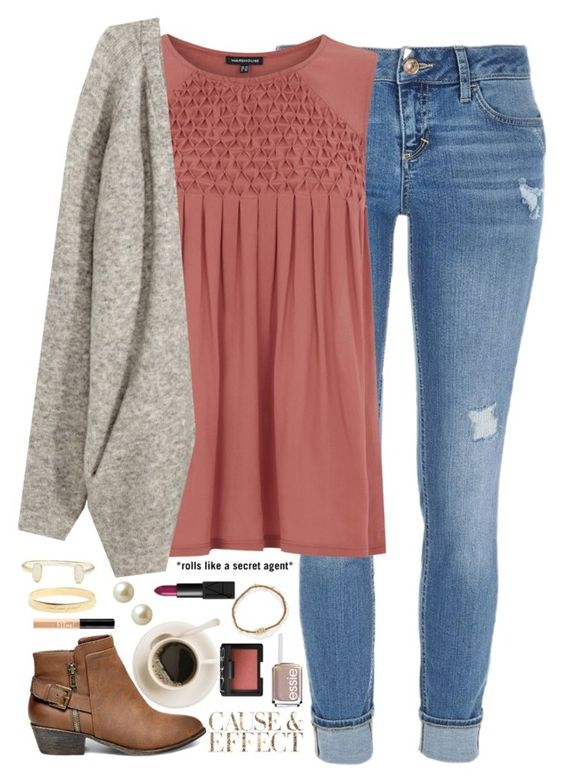 """I love that feeling I get when I hear your voice."" by kaley-ii ❤ liked on Polyvore featuring River Island, Warehouse, H&M, Steve Madden, Kendra Scott, Kate Spade, Envi, Carolee, Essie and NARS Cosmetics:"