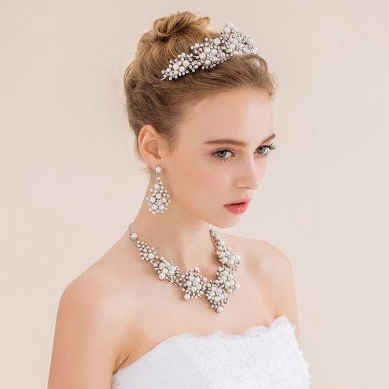 Handmade Elegant Pearl Crown Headdress Formal Party Prom Wedding Accessories #Crown
