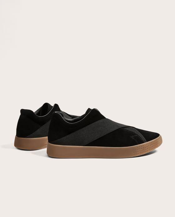Zdjecie 1 Skorzane Buty Sportowe Z Elastycznymi Wstawkami Z Zara Plimsolls Black Leather Sneakers