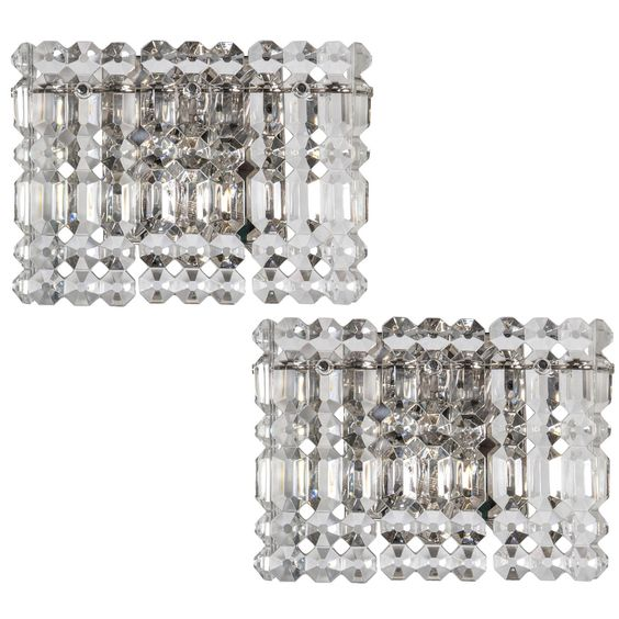 Pair of Rectangular Crystal Prism Sconces by Kinkeldey | From a unique collection of antique and modern wall lights and sconces at http://www.1stdibs.com/furniture/lighting/sconces-wall-lights/