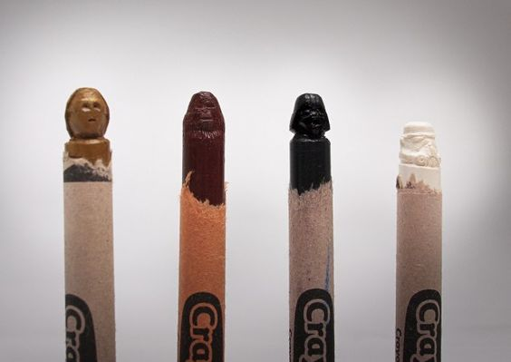 Crayons carved into Star Wars characters...Epic