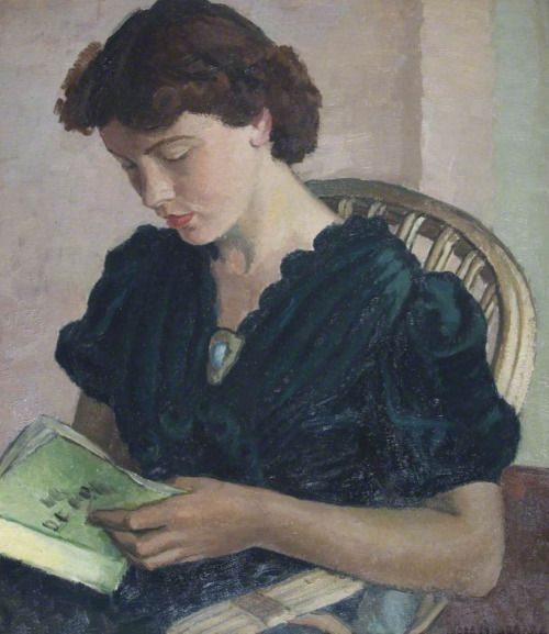 Girl reading. Vera Alabaster (Russian, 1889-1964). Oil on...: