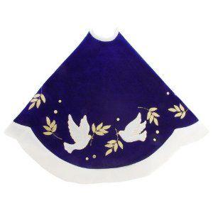 48 blue velvet tree skirt with dove design blue velvet