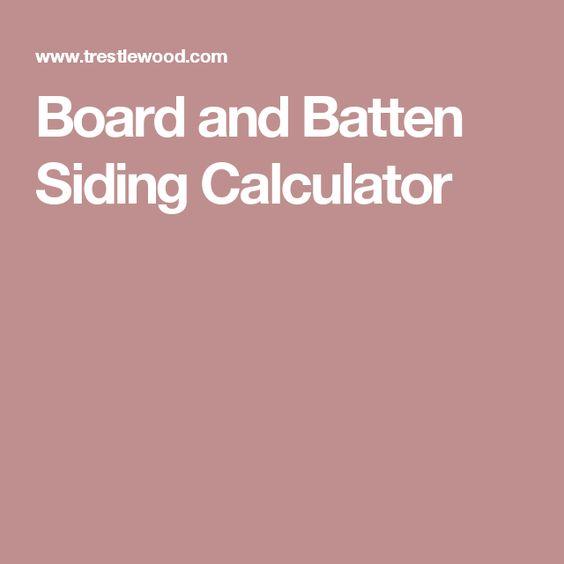 Board and Batten Siding Calculator