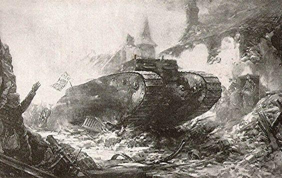 WW1, Propaganda image of a British tank entering the village of Flers 15 Sept…