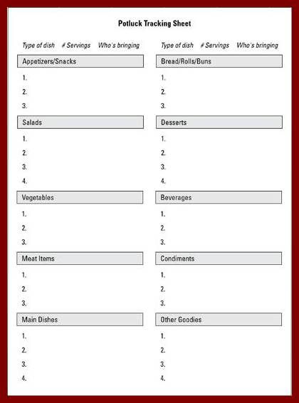 Download Free Potluck Sign Up Sheet Template Word Format Sign